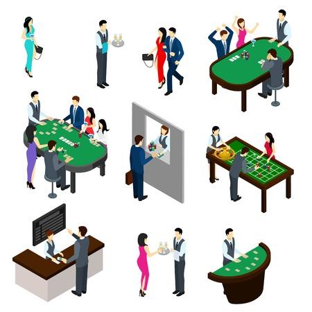 카지노 및 사람들 아이소 메트릭 도박 및 내기 기호 고립 된 벡터 일러스트와 함께 설정