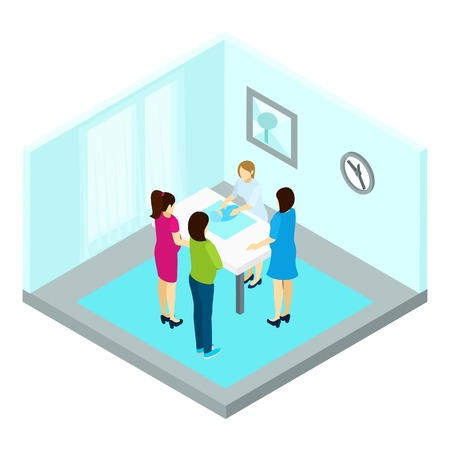 the instructor: Group pregnancy training with women and instructor isometric vector illustration