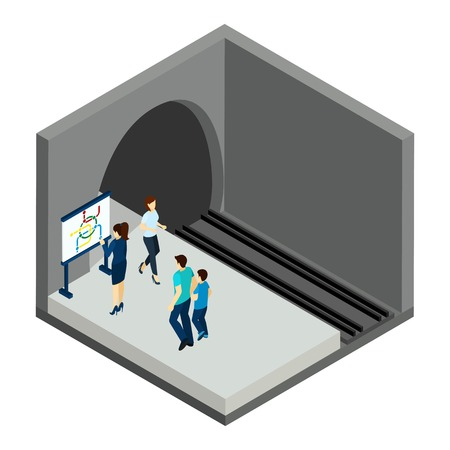 clothes rail: People waiting for underground  train with map and station isometric vector illustration Illustration