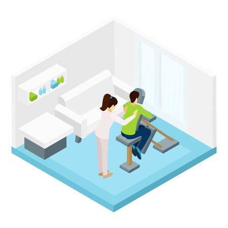 massage symbol: Shoulders massage with special equipment in the room isometric vector illustration