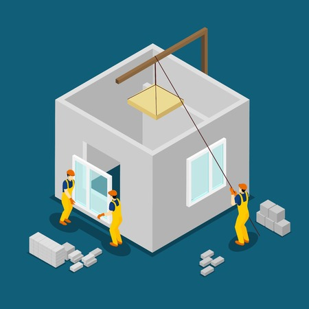 concrete block: Concrete building block construction process isometric banner with windows and panels installation abstract vector illustration