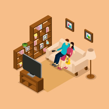 tv remote: Family home on the sofa watching tv isometric picture print with husband wife and child vector illustration