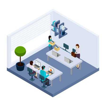 business space: Coworking employees sharing working space sitting in modern business office together isometric banner design abstract vector illustration