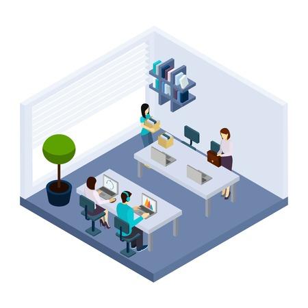 empleados trabajando: empleados de coworking que comparten espacio de trabajo sentado en la oficina de negocios moderno diseño de la bandera junto isométrica ilustración vectorial abstracto