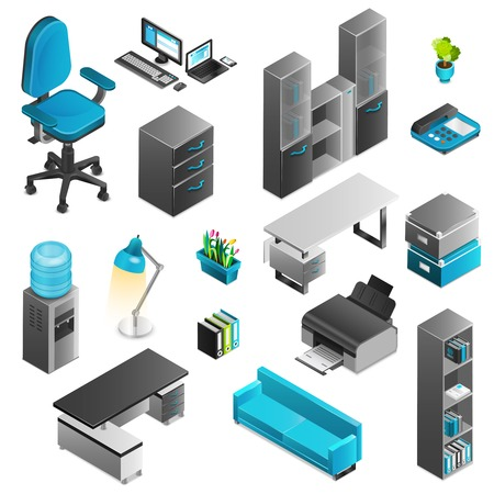furniture computer: Office interior isometric icons set with telephone table and sofa isolated vector illustration