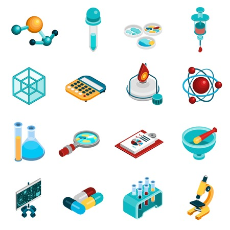 practice: Science isometric icons set with chemistry and pharmaceutics symbols isolated vector illustration Illustration