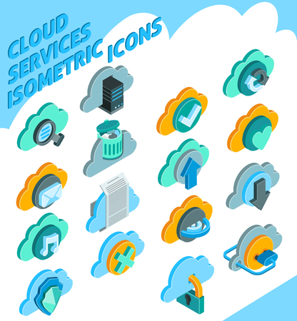 surfing the net: Cloud services isometric icons set with information storage symbols isolated vector illustration