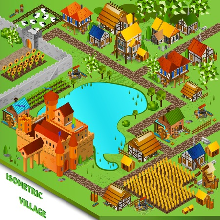 village: Medieval village with castle houses cattle and fields isometric vector illustration