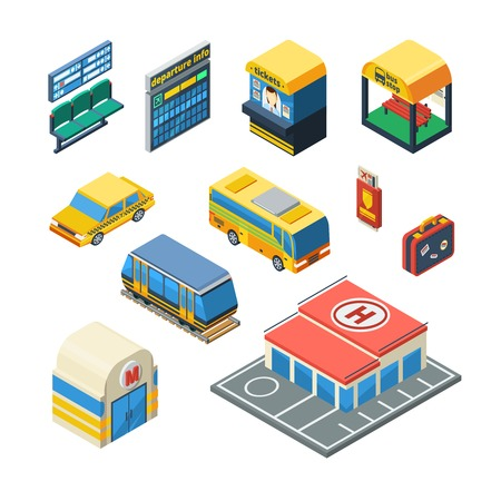 railway: Passenger transportation isometric icons set of taxi bus tram subway station waiting hall with departure scoreboard isolated vector illustration Illustration