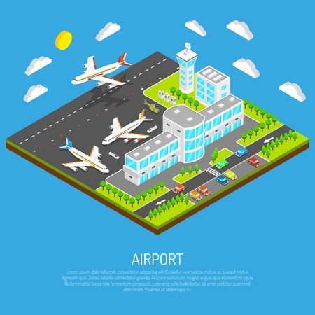 airfield: Poster of square platform airport including terminal control tower airfield and airplanes on blue background isometric vector illustration