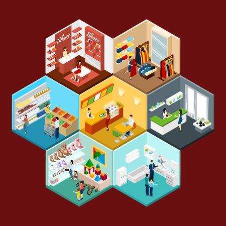 Winkelcentrum hexagonaal honingraat isometrisch patroon samenstelling met speelgoed kleding en supermarkt warenhuizen abstracte illustratie