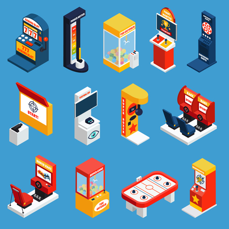 Game machine isometric icons set of slot crane boxing darts karaoke dynamometer machines isolated vector illustration Illustration