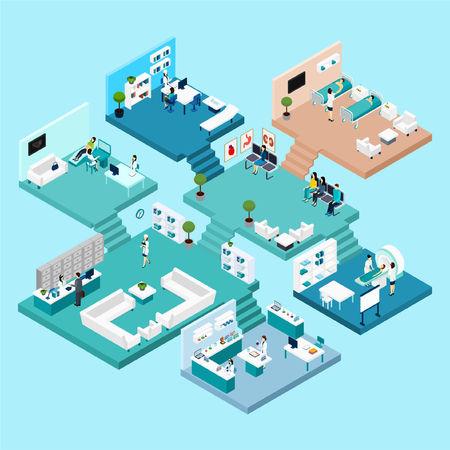 Szpitalne ikony izometryczny program z różnych szafkach i pomieszczeniach na różnych piętrach połączonych schodami ilustracji wektorowych