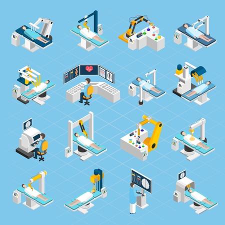 와이드 터치 스크린과 터치 제어 격리 된 벡터 일러스트와 함께 외과 의사 환자와 의료 로봇 설정 로봇 수술 아이소 메트릭 아이콘