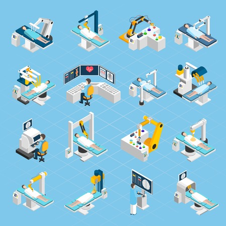 assisted: Robotic surgery isometric icons set with  surgeons patients and medical robots with widescreen touch screen and touch control isolated vector illustration