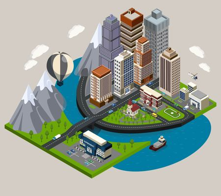 Isometric city concept with street skyscrapers and common elements of modern town vector illustration