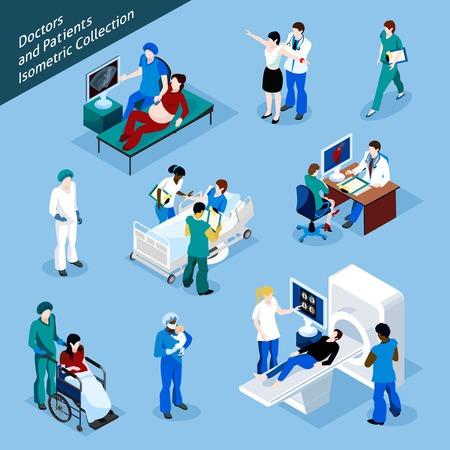 Arts en patiënt isometrische mensen icon set met geïsoleerde medische hulpverleners in uniform en de mensen bij de receptie vector illustratie