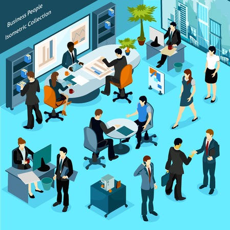 staff team: Business people isometric indoor icons collection of office staff busying in workflow meeting discussions and presentation vector illustration Illustration