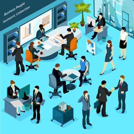 La gente de negocios isométrico Colección de los iconos de interior del personal de la oficina ocupándose en discusiones de la reunión de flujo de trabajo y la presentación Ilustración vectorial