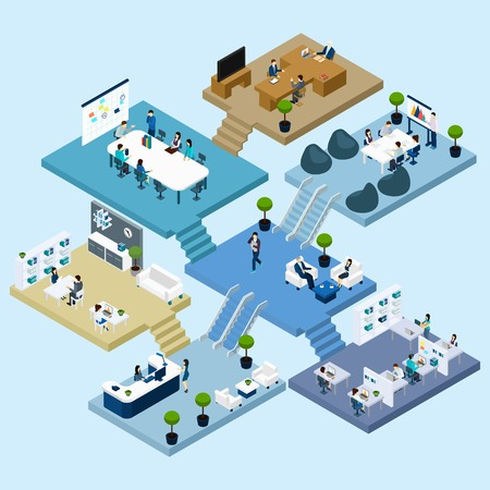 Isometric icons of multistoried office center with abstract scheme of floors rooms and activities vector illustration Stock Illustratie
