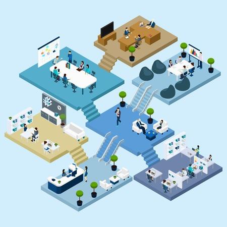 pracoviště: Izometrické ikony multistoried kancelářské centrum s abstraktní schéma podlahy místností a činnosti vektorové ilustrace
