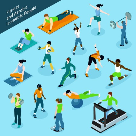 Fitness aerobic isometric people icon set with people at the gym isolated shadowed vector illustration
