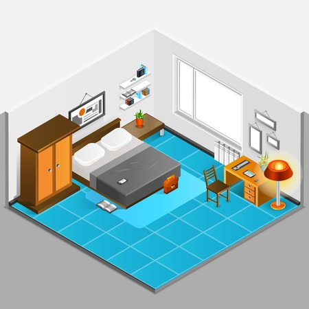 bedroom interior: Home interior isometric concept with bedroom design and furniture vector illustration Illustration