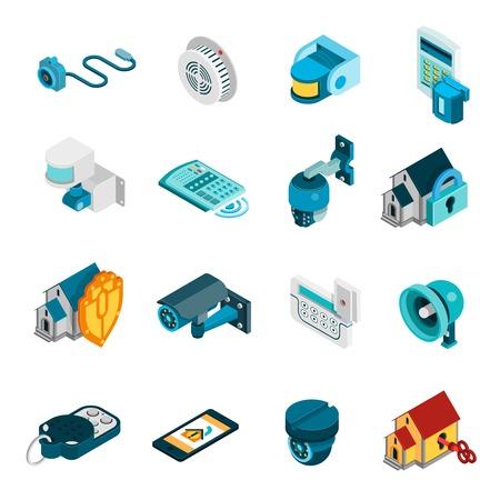 iconos isométricos del sistema de seguridad establecidos con la ilustración vectorial de alarma y cámaras de símbolos aislados