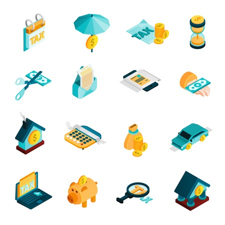 Tax isometric icons set with bank and money symbols isolated vector illustration