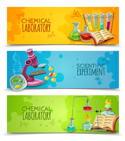 experiments: Chemical research laboratory equipment for scientific experiment 3 flat abstract horizontal banners set vector isolated illustration Illustration