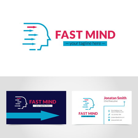 tagline: Easy to create online and personalize business card logo design printable with your own tagline vector illustration Illustration