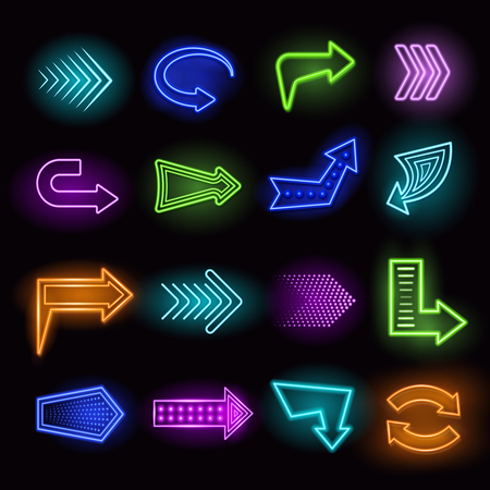 arrow icon: Neon realistic arrows set showing direction on black background isolated vector illustration