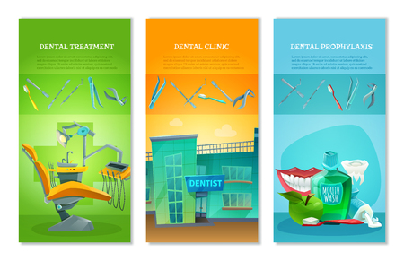 prophylactic: Dental clinic for affordable prophylactic procedures and painless treatment 3 flat vertical banners set abstract vector illustration