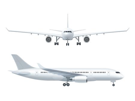 Biała ikona samolot ustawiony na białym tle w profilu i od przodu pojedyncze ilustracji wektorowych