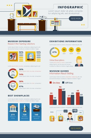 museum: Museum infographic poster with abstract interior example and different charts and styled graphs vector illustration Illustration