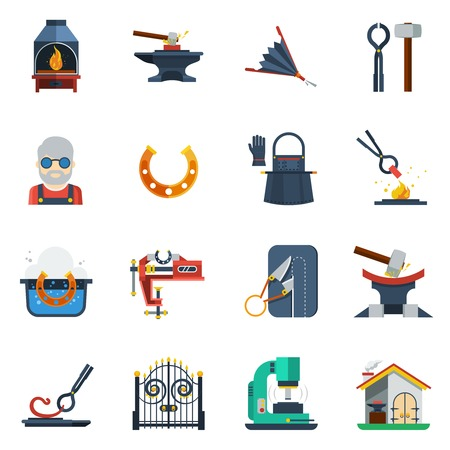 anvil: Blacksmith flat color icons set with hammer  anvil tongs clamp horseshoe isolated vector illustration