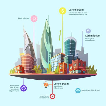 Ufficio moderno capitale del centro e gli edifici residenziali servizi complessi concetto simboli infographic manifesto astratto illustrazione vettoriale