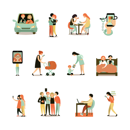 car driving: Internet addiction decorative icons set of people with smartphones during meeting driving walking working isolated vector illustration Illustration
