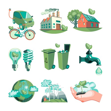 biological: Ecology decorative icons set with earth industry solar panels clean water wind turbines garbage isolated vector illustration
