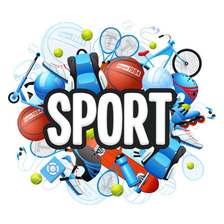 cartoon ball: Summer sports cartoon concept with sports equipment and outfit vector illustration