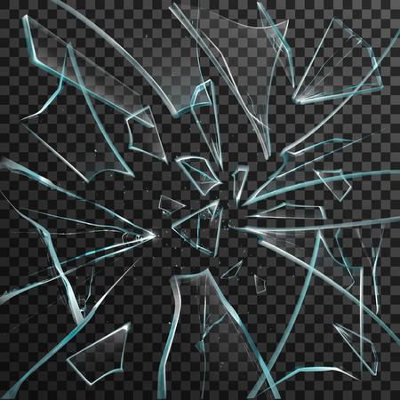 Realistic shards of transparent broken glass on abstract grey and black background vector illustration