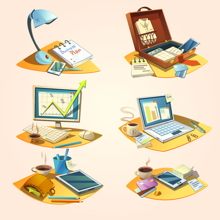 telefono caricatura: Concepto de negocio conjunto con la ilustración vectorial de dibujos animados retro iconos de trabajo de oficina aislada