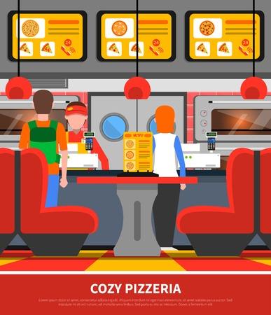 food restaurant: Fast food restaurant pizzeria interior with customer silhouettes flat vector illustration
