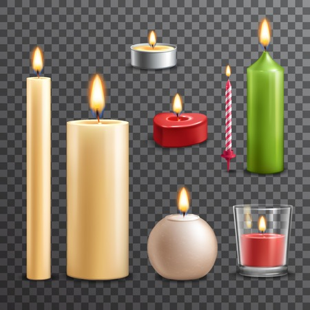 lit candles: Candles realistic 3d set isolated on transparent background vector illustration