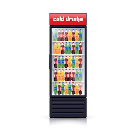 vertical fridge: Fridge dispenser cooling machine selling best cola refreshments drinks single object icon realistic vector Illustration Illustration