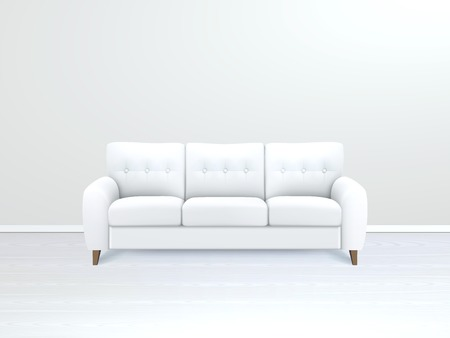 leather sofa: White soft luxury leather sofa in modern apartment salon art gallery or office interior realistic vector illustration Illustration