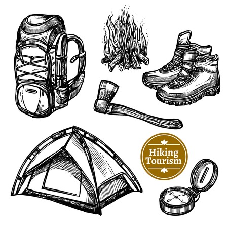 rock climb: Black and white sketch tourism camping hiking set with backpack campfire shoes ax tent isolated vector illustration