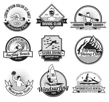 surf team: Water sport black and white label set for surfing swimming and diving club isolated vector illustration Illustration
