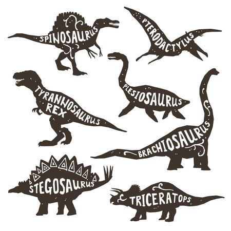 pterodactyl: Dinosaurs black silhouettes set with lettering pterodactyl plesiosaur spinosaurus tyrannosaurus triceratops on white background isolated vector illustration