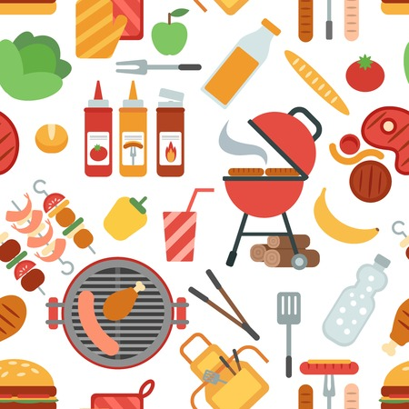 BBQ party seamless pattern with grill meat and vegetables flat vector illustration